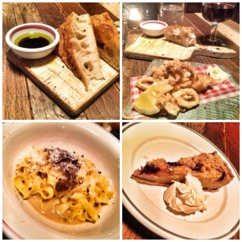 Focaccia, squid, truffle pasta, berry frangipan