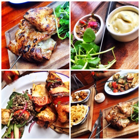 The chargrilled chicken, dips, chamoula kebab, the lot