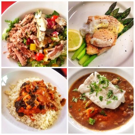 Salad & sardines 220 cals,  Asparagus, haddock & egg,  Chilli on cauliflower. Rice, Veggie stew with cod