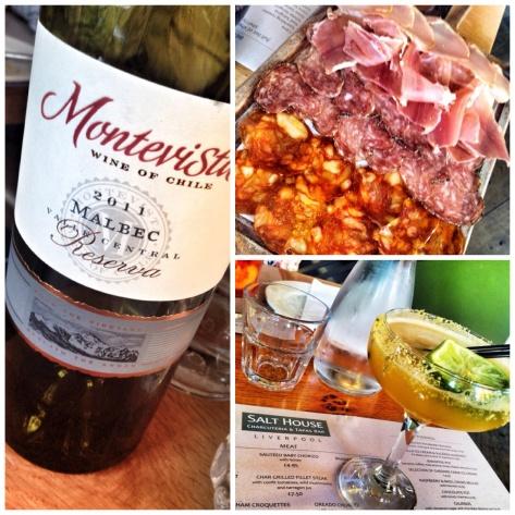 Wine, charcuterie, mango Margerita