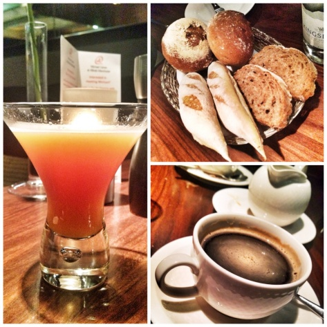 Cocktail, bread, coffee