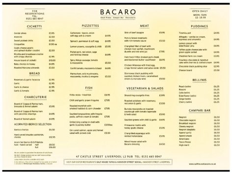 The amazing a la carte menu