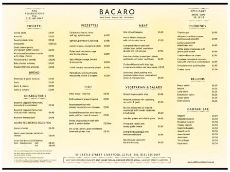 The amazing a la carte menu