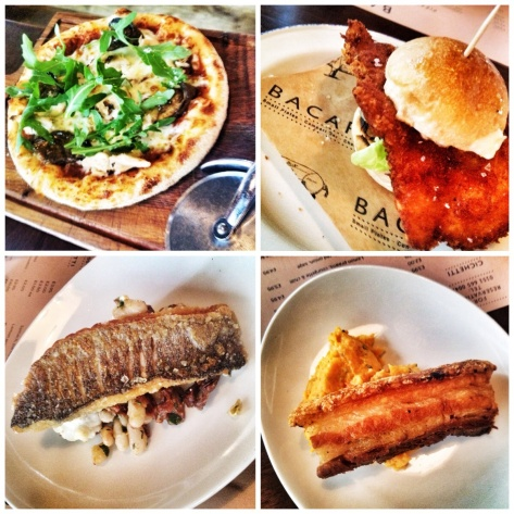 pizzette, sliders, sea bass, pork belly