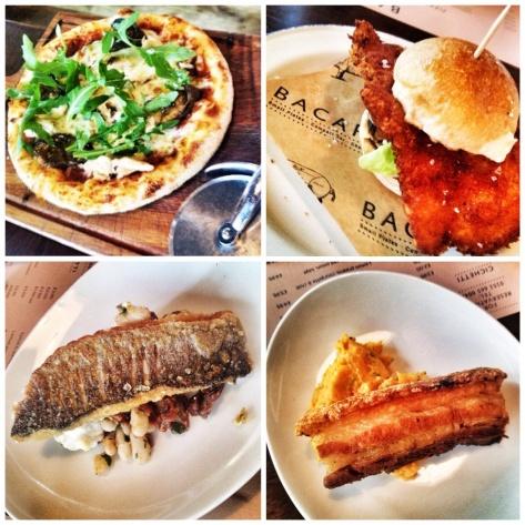 pizzette, sliders, sea bass, pork belly