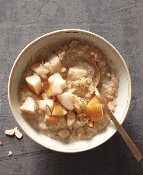 Porridge and fruit for breakfast