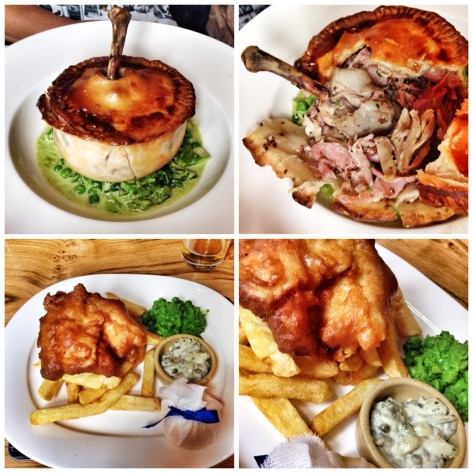 Amazing chicken ham pie, a decent hake and chips