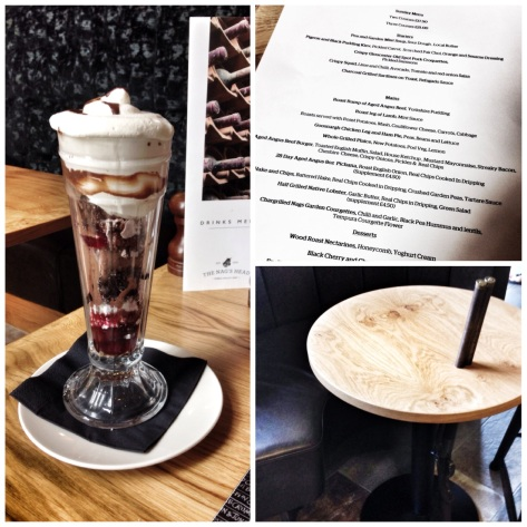 Chocolate Sundae, menu, gun table