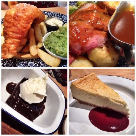 a bit more fish & roast, brownie and cheesecake