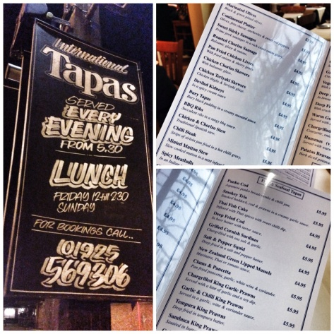International tapas, extensive menu