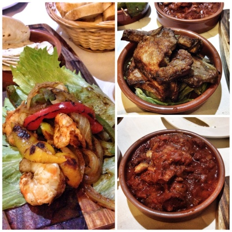 King prawn fajitas, lamb chops, chicken chorizo stew