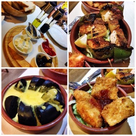 Platter,  salmon kebab, bury tapas, Panko cod