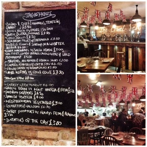 the menu, rustic interior