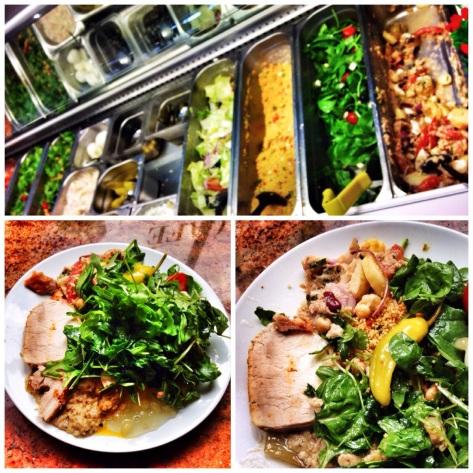 The salad bins, roast pork and bags of greenery!