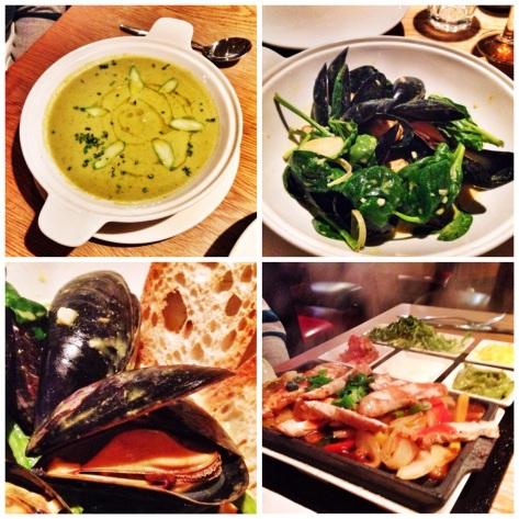 Soup, mussels, fajitas