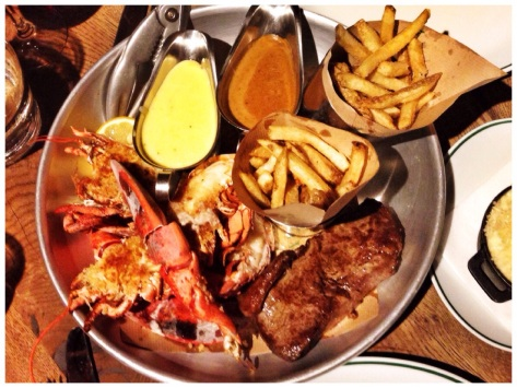 The main event, lobster and steak
