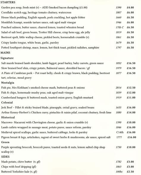 The standard menu.
