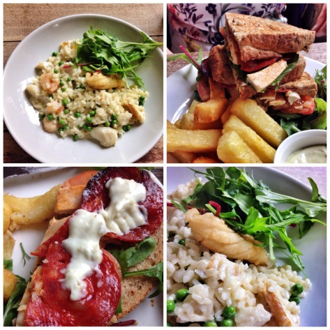Seafood risotto, Chicken Club