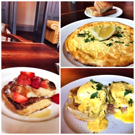 French toast, haddock omelette, eggs benedict