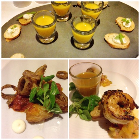 Canapés, frogs legs, king prawn starters